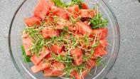 Groene salade met watermeloen